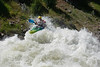 Micah Kniedl on top of Juicer at 8000cfs. This is his birthday photo. North Fork of the Payette River at 8000CFS
