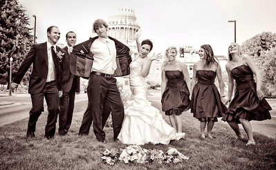Wedding party outdoor portrait, Adelman Building. By Mike Reid, Boise wedding photographer.